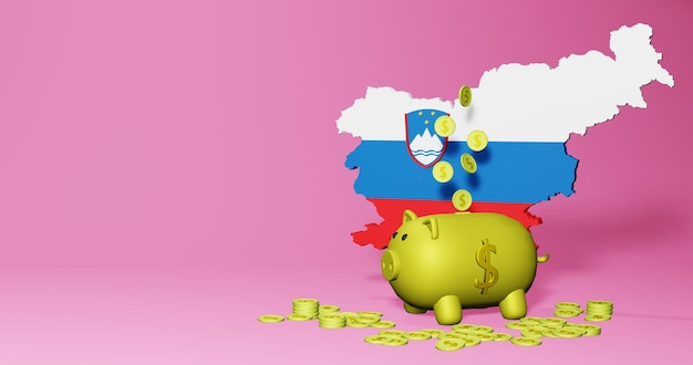 3d rendering of piggy bank as positive economic growth in slovenia