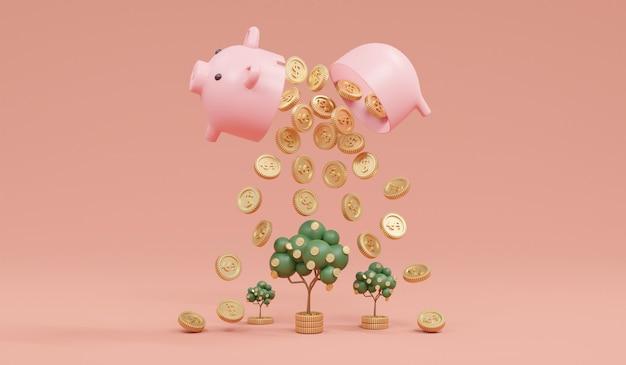 3d 렌더링 돼지 저금통 오픈 동전이 저장 또는 투자의 배경 개념에 돈 나무를 성장하기 위해 떨어지는
