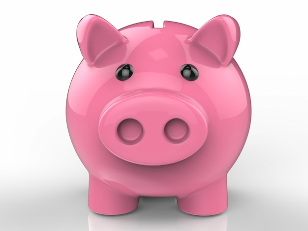 3d rendering piggy bank on white background