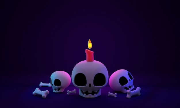 3d rendering pile of cute skulls and bones with candle art