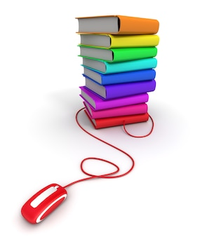 3d rendering of a pile of multicolored books connected to a computer mouse