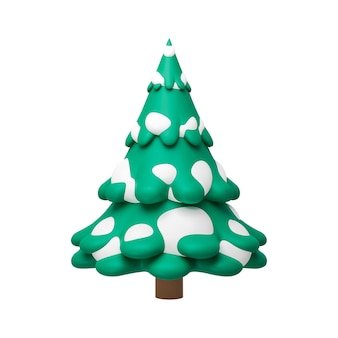 3d rendering of pine tree with snow