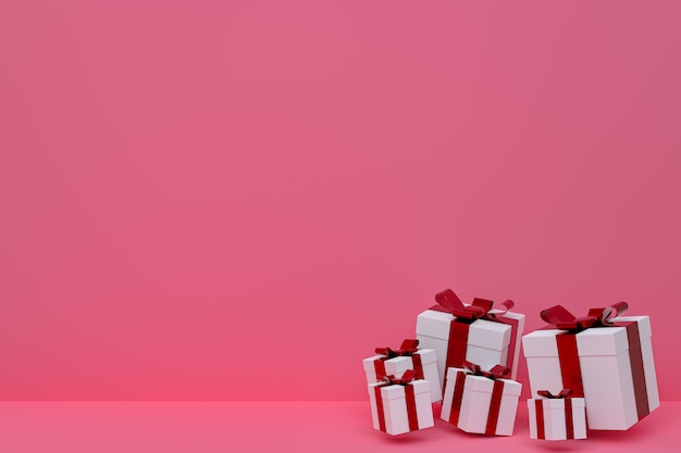 3d rendering,pink background colorful realistic gift box with colorful bow on blank space