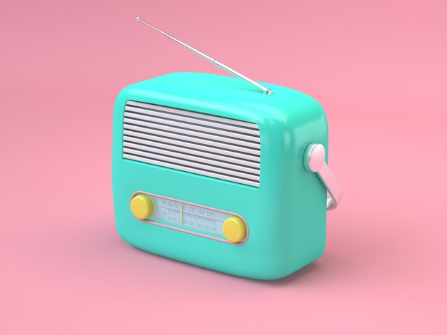 3d rendering pink background green radio