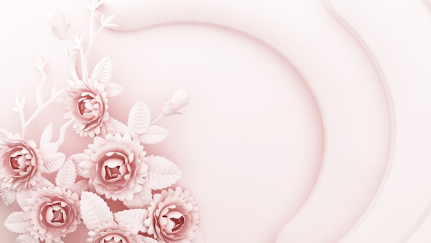 3d rendering of pink background with flowers on the sides