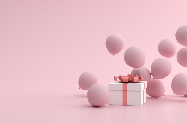 3d rendering of pink balloons floating near a gift box