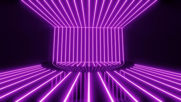 3dレンダリング、ピンクブルーのネオンライン、幾何学的形状、仮想空間、空の部屋、紫外線