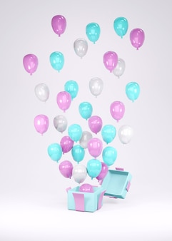 3d rendering of pink blue white balloon flying out from gift box on background
