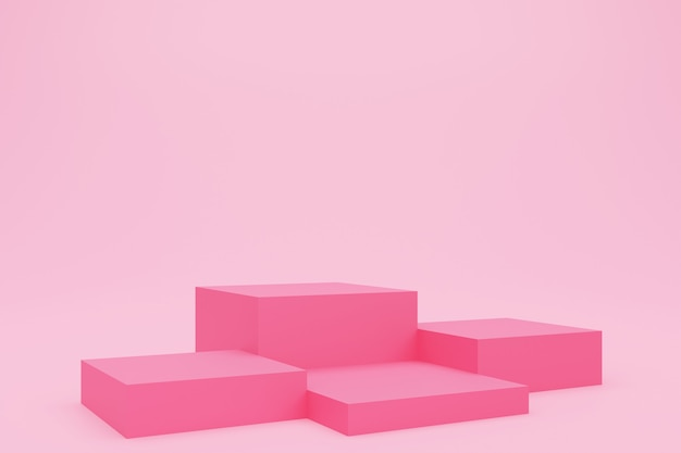 3d rendering of pink cube podium or pedestal with empty studio room, product background, template mockup for valentine's day display, love concept, geometric of square shape