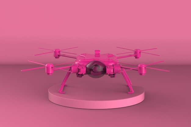 3d rendering pink drone on pink background