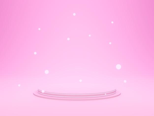 3d 렌더링. 핑크 기하학적 연단.