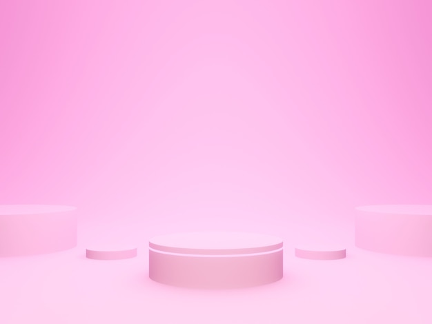 3d rendering. pink geometric podium.