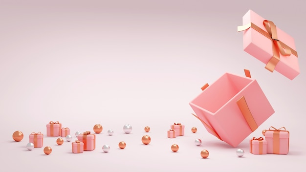 3d rendering pink gift box open around with small presents space for text for commercial design