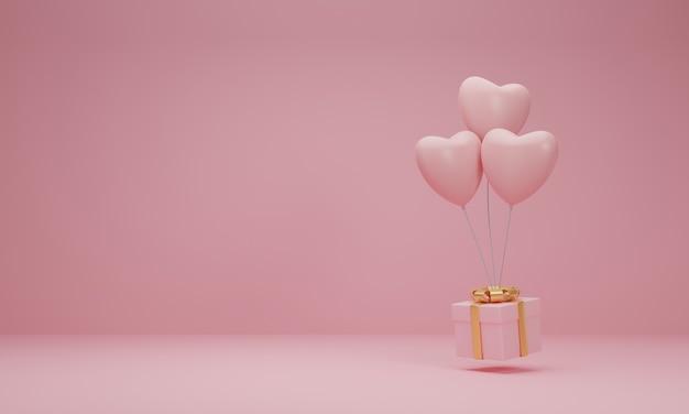 3d рендеринг. розовая подарочная коробка с золотой лентой и сердцем воздушного шара на пастельно-розовом фоне. минимальная концепция.