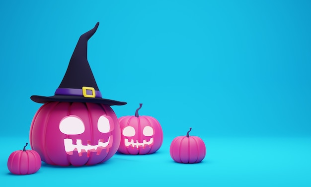 3d rendering of pink halloween pumpkin head lantern wearing witch hat decoration on pastel blue