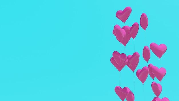 3d 렌더링, 파스텔 블루 배경에 핑크 하트 풍선, 사랑 개념