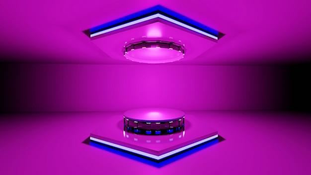 3d-рендеринг, розовая платформа для демонстрации товаров, синяя рамка, светящийся