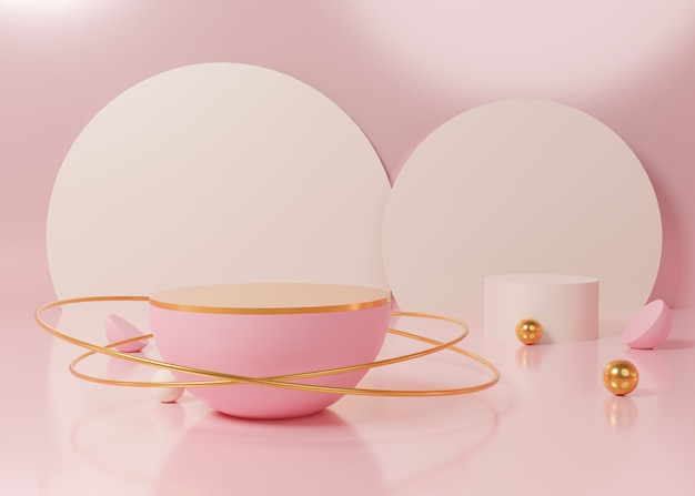 3d rendering pink pastel display podium product stand on background. abstract minimal geometry. premium image