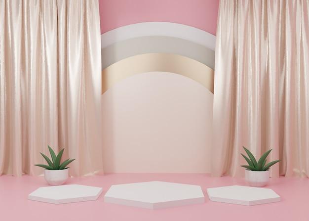 3d 렌더링 핑크 파스텔 디스플레이 연단 제품 스탠드