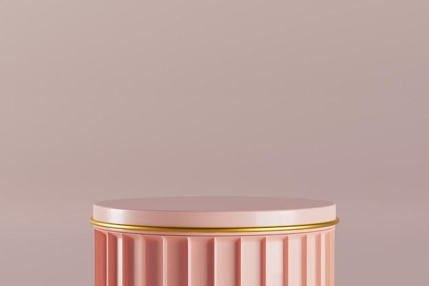 3d-рендеринг розовый подиум с золотым декором