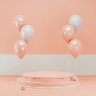 3d rendering pink podium with bunch of balloon for product display