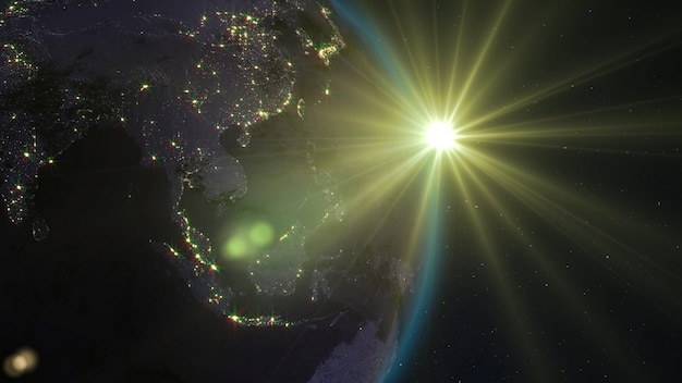 3d rendering planet earth from space against the background of the starry sky and the sun