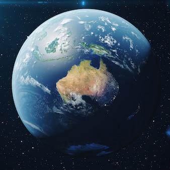 3d 렌더링 밤에 우주에서 지구입니다. 지형과 구름을 보여주는 스타 필드에서 우주에서 세계 글로브 nasa에서 제공하는이 이미지의 요소입니다.