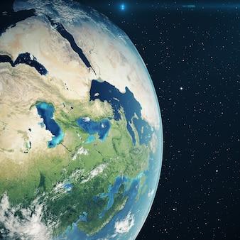 3d рендеринг планета земля из космоса в ночное время. глобус из космоса в звездном поле, показывающий местность и облака. элементы этого изображения, представленные наса.