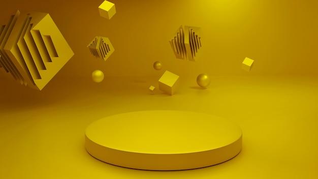 3dレンダリングプラットフォームの抽象的なゴールデンステージレンダリング。