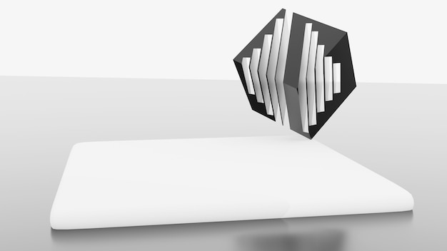 3d rendering  platform white abstract stage renderings gray room background
