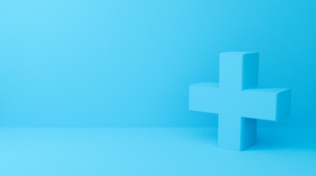 3d rendering of plus symbol on blue abstract background. 3d cross sign for medical and pharmacy.