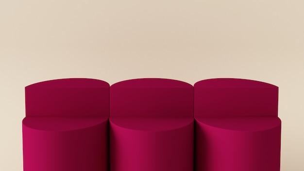 3 dレンダリング表彰台、抽象的な幾何学形状
