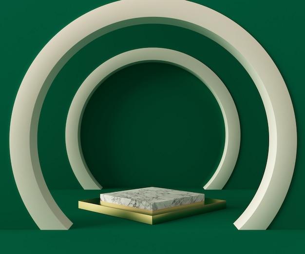 3d 렌더링 연단 배경 모형 장면입니다. 추상적 인 기하학 모양 파스텔 색상입니다.