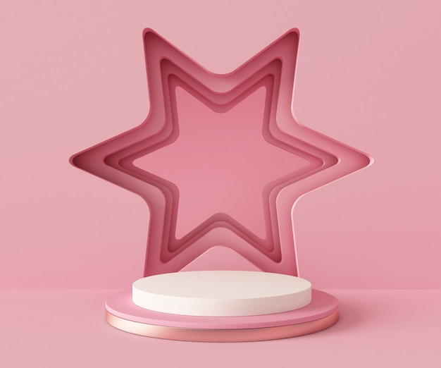 3d rendering podium background mock-up scene. abstract geometry shape pastel color.