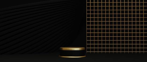 3d rendering of podium on black background luxury minimalist mockup.