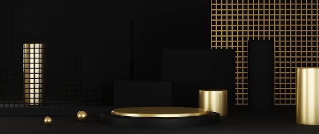 3d rendering of podium on black background luxury minimalist .