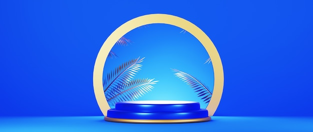 3d rendering of podium. blue background with geometric composition.