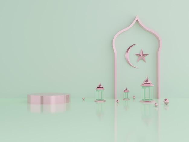 製品ラマダンとイードムバラクの3dレンダリング表彰台ディスプレイ