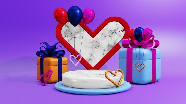 愛とギフトボックスの飾りと3dレンダリング表彰台ディスプレイ製品のプレゼンテーション