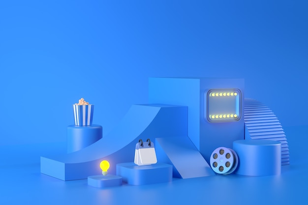 3d rendering of podium and entertainment apps.