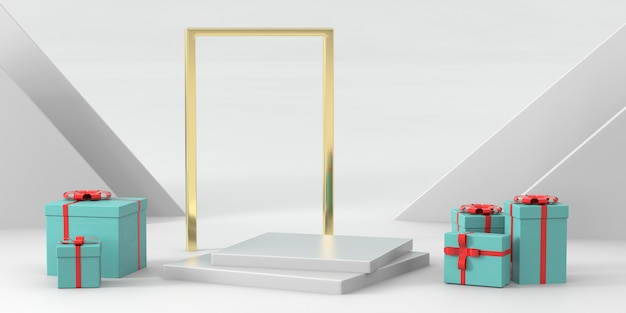 3d rendering podium for luxury products