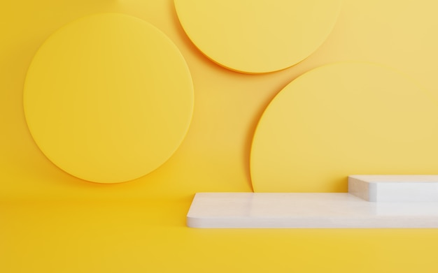 3d rendering of podium minimal abstract geometric yellow background