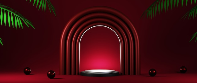3d rendering of podium red background for the presentation products.