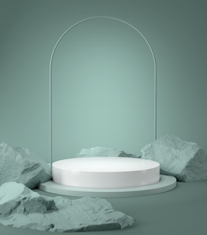 3d rendering of podium and stone.