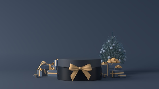 3d rendering of a podium with christmas gifts