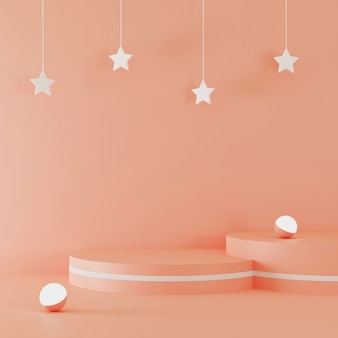 3d rendering podium with stars accent and light ball