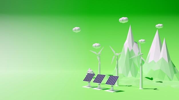 3d-рендеринг экологической экологической и энергетической концепции полигона с ветряными турбинами и солнечным элементом абстрактный фон