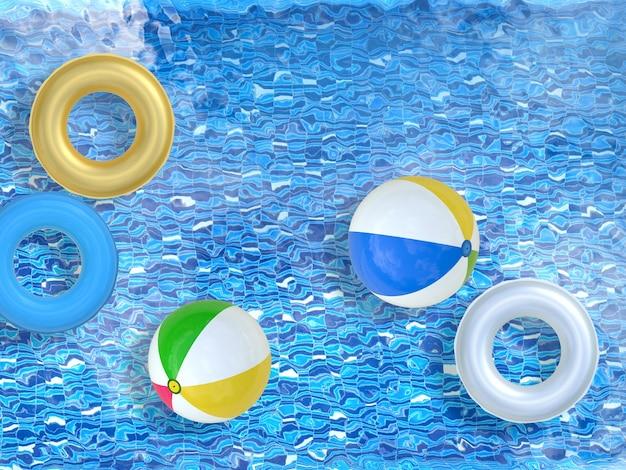 3d-рендеринг бассейна с пляжными мячами и плавательными кольцами