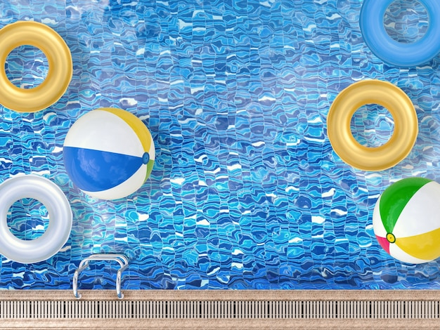 3d rendering pool top view with beach balls and swim rings