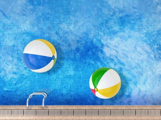 3d рендеринг бассейна с пляжными мячами